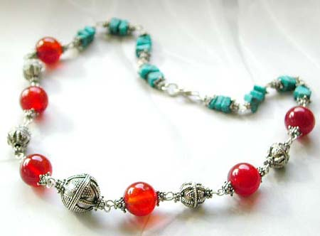 Summer jewelry wholesale bali beads necklace with agate and turquoise chips