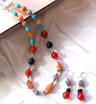 Jewelry catalog online wholesale bali beads with assorted stone jewelry set