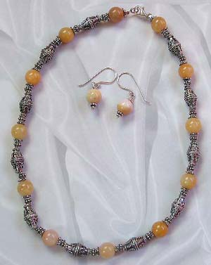 Discount jewelry catalog online wholesale bali beads jewelry set with yellow genuine agate  semi precious stone