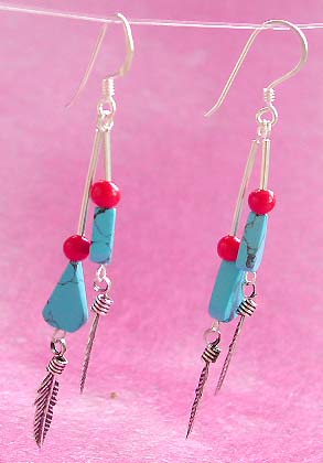 <double strip sterling silver earring with turquoise and red beadsempty>