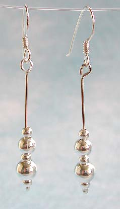Wholesale listing, hook earring sterling silver in multi beaded dtrip dangle design