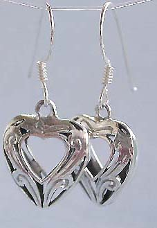 Wholesale heart love jewelry, heart love sterling silver hook earring