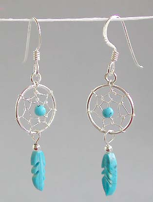 Jewelry gift idea, spider web sterling silver earring with blue faux stone bead dangle