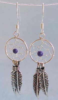 Earring fashion catalog, beaded spider web sterling silver earring with doblue leaf dangle