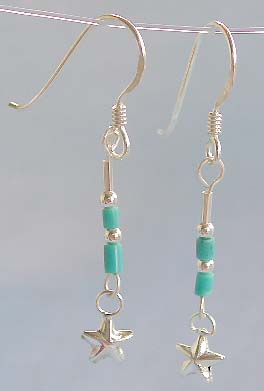 Hot jewelry wholesale, beaded sterling silver hook earring with star dangle
