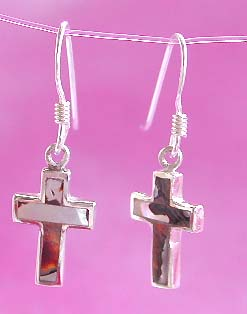Wholesale religious jewelry, sterling silver cross earring with mother of pearl seashell