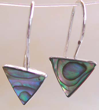 Wholesale unique earring, sterling silver hook earring with triangular abalone seashell