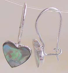 Wholesale silver earring, heart love abalone seashell sterling silver earring