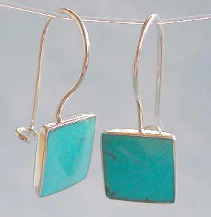 Wholesale hook earring, sterling silver with blue turquoise stone