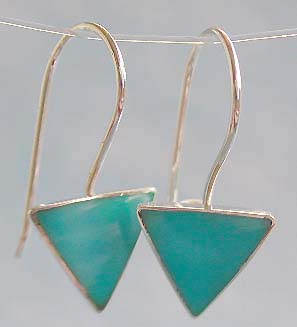 Wholesale gemstone jewelry, sterling silver earring with triangular blue turquoise