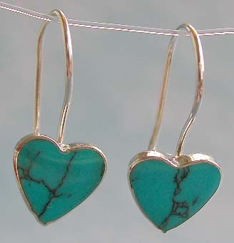 Love jewelry trend wholesale, heart love blue turquoise inlaid sterling silver hook earring