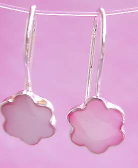 Sterling silver earring wholesale lot, hook earring with flower pinkish mother of pearl seashell