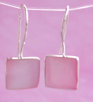 Wholesale earring catalog, square shape mother of pearl seashell inlaid sterling silver earring