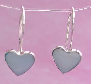 Wholesale jewelry for lovers, sterling silver hook earring with blue heart love mother of pearl seashell