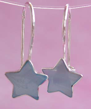 Wholesale teen earring, starling silver hook earring with star blue mother of pearl seashell