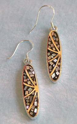Collectible jewelry wholeslae, long elliptical design sterling silver earring with multi mini seashell inlaid