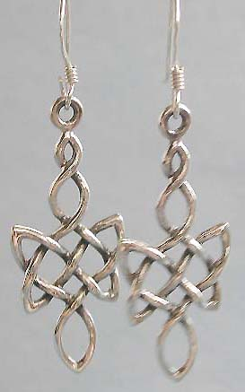 Celtic fashion jewelry supply, sterling silver fish shook earring, Celtic knot work trend
