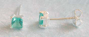 Wholesale earring for lady, blue square cz embedded sterling silver stud earring