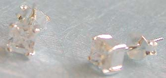 Crystal fashion jewelry, clear cz central embeded sterling silver stud earring