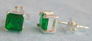 Sterling jewelry online cztalog, silver stud earring with green cz