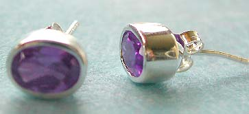 Online earring store wholesale, stud earring sterling silver with oval shape purple cz