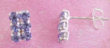 Wholesale costume jewelry trend, stud earring sterling silver with six mini light blue cz