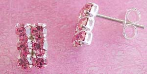 Wholesale earring, sterling silver stud earring with six pinkish cz stone