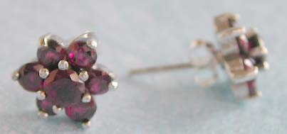 Wholesale flower jewelry, multi mini garnet stone forming flower sterling silver hook earring