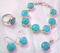 Fashion jewelry online purchase wholesale sterling silver jewelry set with round turquoise