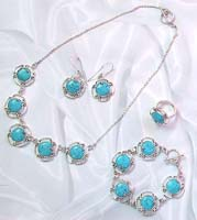Fantasy jewelry warehouse wholesale sterling silver jewelry set with turquoise and wire knot decor
