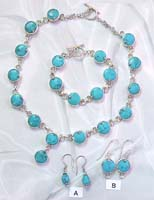 Jewelry set warehouse online wholesale turquoise jewelry set with silver knot connected each round turquoise