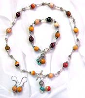 Antique jewelry wholesaler wholesale bali beads jewelry set with assorted Australia picture stone