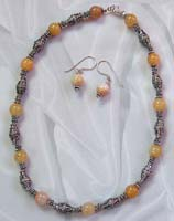Discount jewelry catalog online wholesale bali beads jewelry set with yellow agate semi precious stone