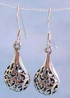 Buy jewelry blow wholesale, water-drop shape sterling silver earring carved-out floral