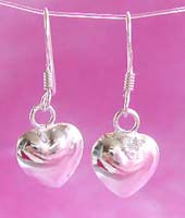 Wholesale Valentine jewelry, solid heart love sterling silver earring hook