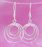 Geometric earring wholesale, triple circle loop sterling silver fish hook earring