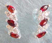 Silver jewelry Bali direct import, sterling silver stud earring with double garnet and cz stone inlaid