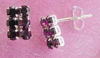Silver jewelry Bali direct import, six mini purple cz inlaid sterling silver stud earring