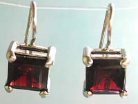 Fashion silver jewelry wholesale, hook sterling silver earring with diamond red garnet stone
