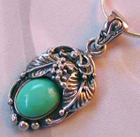 Wholesale jewelry finding wholesale sterling silver leaf holding turquoise pendant