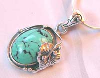 Wholesale jewelry manufacturer wholesale sterling silver pendant with an oval turquoise