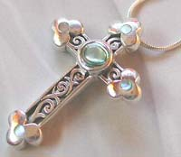 Fashion sterling jewelry wholesale sterling silver cross with paue shell