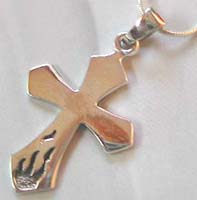 Body catalog free jewelry wholesale sterling silver cross pendant with fire tatto at the bottom